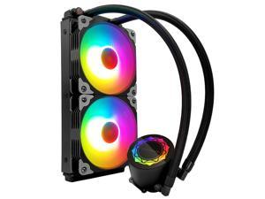 COOLMOON New Water Cooling Radiator Integrated CPU Cooler,Two 120mm RGB Fans,ARGB Light Synchronization