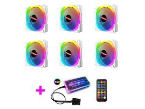 COOLMOON New RGB Case Fans,120mm Silent Computer Cooling PC Case Fan, ARGB Desktop Fan,RGB Color Changing LED Fan with Remote Control