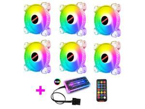 COOLMOON New RGB Case Fans,120mm Transparent Diamond Silent Computer Cooling PC Case Fan, RGB Color Changing LED Fan with Remote Control