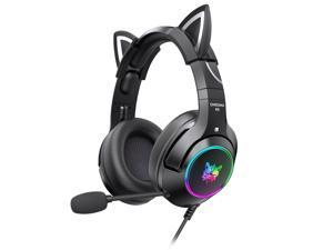 K9 Gaming Headset with Removable Cat Ears, for PS5, PS4, Nintendo Switch, PC, with Surround Sound, RGB LED Light & Noise Canceling Retractable Microphone