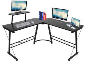 """L-Shaped Desk 50"""" Computer Corner Desk, Home Gaming Desk, Office Writing Workstation with Large Monitor Stand, Space-Saving, Easy to Assemble, Black"""