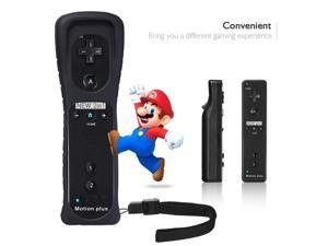 FirstPower Remote Control Controller + Silicone Case Sleeve + Wrist Strap for Nintendo Wii Games Black Built Motion 2in1