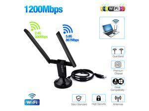 FirstPower 1200Mbps 5GHz USB 3.0 Wireless Adapter Long Range AC1200 Dual Band  WiFi Adapter Antennas