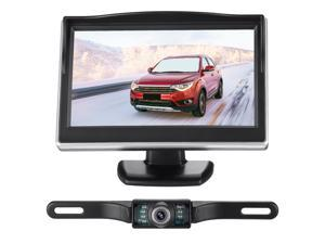 FirstPower Backup Camera Monitor Kit for car ,Universal License Plate Reverse Waterproof Night Vision Rearview HD Reversing Camera+5 Inch LCD Rearview Monitor