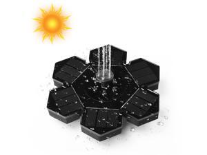 FirstPower Solar Fountain Outdoor Solar Powered Floating Water Fountain Pump with 4 Different Spray Pattern Heads for Garden, Pond, Pool, Fish Tank