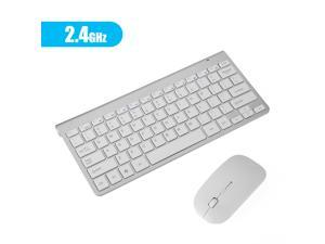 FirstPower Mini Wireless Keyboard And Mouse Set Waterproof 2.4G For Mac Apple PC Computer Silvery