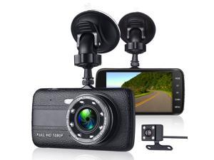 FirstPower  Dash Cam 1080P Dual Lens Car DVR Car Cam 4 Inch LCD Screen 170° Wide Angle, G-Sensor, WDR, Parking Monitor, Loop Recording, Motion Detection