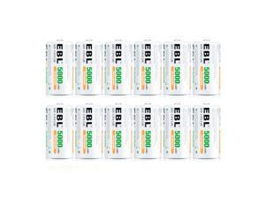 EBL 12 Pack C Size 1.2V 5000mAh Ni-MH Rechargeable Batteries C  Battery