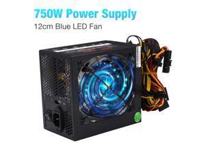 FirstPower 750W Supply  Gaming Quiet Blue LED Fan PSU SATA ATX Power Supply PCIe