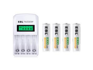 EBL 4 Pack 2300mAh AA Rechargeable Batteries with 4-Slots LCD Fast Battery Charger for AA AAA NIMH NICD Rechargeable Battery