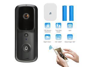FirstPower 1080P Wireless WiFi Video Doorbell Smart Door Intercom Security Camera Bell Black