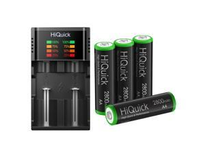HiQuick 4Pcs 2800mAh AA Rechargeable Batteries High Capacity and 18650 Battery Charger LCD Display for Ni-MH Ni-Cd Battery 10440 17500 17650 17670 18350 18490 AA AAA C D 18650 Charger