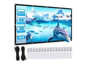 100 inch Projector Screen, 16:9 HD Foldable Anti-Crease Portable Washable Projection Screen, Double Sided Screen for Home Theater Indoor Outdoor Cinema Camping Backyard