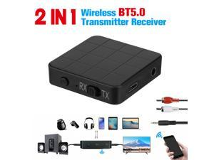 2-in-1 Bluetooth Wireless 5.0 Transmitter Receiver 3.5mm Audio Aux Adapter Low Latency, 6H Playtime, RCA, Wireless Adapter for TV, Home Stereo, Car Sound System