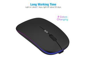2.4GHz RGB Rechargeable Wireless Mouse Silent USB Mice for Computer PC Laptop US,Black