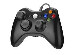 XB0X 360 Wired Gaming Controller,PC Game Controller Joystick with Dual-Vibration and Double Motor for Windows,Black