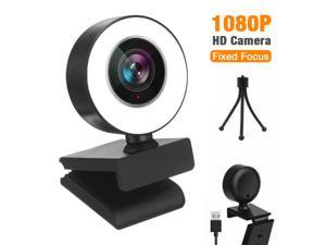 1080P Full HD Fixed-Focus Webcam for PC, Full HD Computer 2K USB Web Cam with Microphone, Cover, Expandable Tripod, Touch Switch Light, Streaming Camera for Skype, Streaming, Teleconference