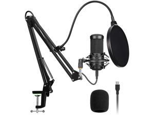 Professional USB Streaming Podcast PC Microphone with AK-35 Suspension Scissor Arm Stand, Shock Mount, Pop Filter, Foam Cover, for Skype, Youtuber, Karaoke, Gaming, Recording, Discord