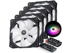 120mm Case Fan, DRGB Computer Fan PWM PC Cooling Fan LED High Airflow Desktop Silent Cooler 1800 RPM w/PWM Fan Hub Digital RGB Controller (5 Pack)
