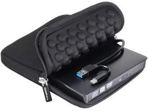 External CD DVD Drive USB 3.0 Type-C Portable DVD/CD ROM +/-RW Drive Burner Rewriter with Protective Storage Carrying Case Bag for Windows Linux Mac Laptop Desktop, MacBook Pro/ Air, iMac