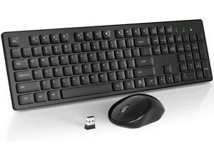 Wireless Keyboard Mouse Combo, 2.4GHz Slim Full-Sized Silent Wireless Keyboard and Mouse Combo with USB Nano Receiver for Laptop, PC (Black)