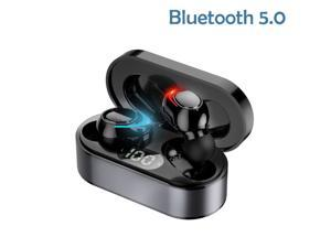 True Wireless Earbuds, Bluetooth 5 Headphones in Ear with Charging Case, Hands-Free Headset with Noise Cancellation Mic, for iPhone and Android