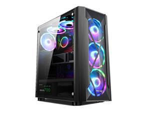 Black ATX Mid-Tower Case - High Airflow, Front Mesh Ventilation with Acrylic window Side Panel, Pre-Installed 6 x 120mm Rainbow RGB Fans