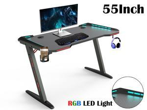 """Gaming Desk 55"""" Z Shaped Large PC Computer Gaming Desks Tables with RGB LED Lights for E-Sport Racing Gamer Pro Home Office Gift"""