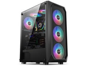 HSCCGI Mesh Back Airflow ATX Mid-Tower Chassis PC Gaming Case with Acrylic window Side Panel,ATX/Micro-ATX/mini-ITX  Supported, 6 RGB Fans