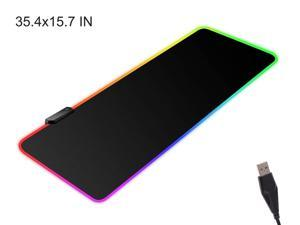 Large RGB Gaming Mouse Pad - 14 Light Modes Extended Computer Keyboard Mat with Durable Stitched Edges, High-Performance Mouse Pad Optimized for Gamer 35.4X 15.7 in