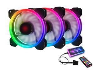 RGB Case Fans 120mm PC Fan 12cm, High Airflow Quiet, Adjustable Colorful Fans, 3 Packs for Computer Cases