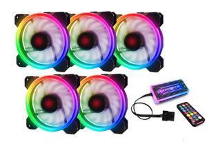RGB Case Fans 120mm PC Fan 12cm, High Airflow Quiet, Adjustable Colorful Fans, 5 Packs for Computer Cases