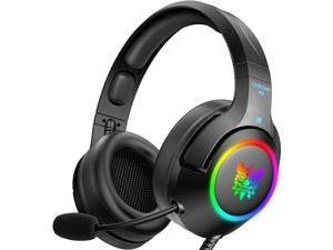 ONIKUMA RGB Gaming Headset ,3.5mm Stereo Wired Over Ear Gaming Headphone with Mic, Noise Cancelling & Volume Control, Colourful RGB Light Gaming Headset for New Xbox One/PC/Mac/PS4/Table/Phone