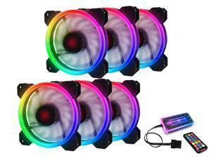RGB Case Fans 120mm PC Fan 12cm, High Airflow Quiet, Adjustable Colorful Fans, 6 Packs for Computer Cases