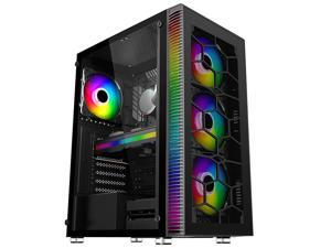 HSCCGI ATX Mid-Tower Chassis Gaming PC Case 4 LED Fans Pre-Installed, Translucent Tempered Glass USB 3.0 Cable Management/Airflow Gaming Style Windows Computer Case