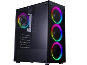 Tempered Glass ATX Mid Tower Computer Case, Gaming Pc Case, Desktop Case,  USB3.0 Port, ATX/MATX/ITX Case,NO case fan