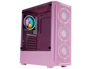HSCCGI ATX Mid Tower Gaming Case with 1 x Tempered Glass Panel, Top USB3.0/USB2.0/Audio Ports, 6 x LED Fans,Pink
