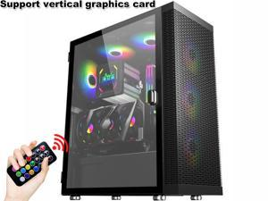 HSCCGI E-ATX 4pcs 120mm RGB Fans and USB 3.0 Mesh Mid-ATX Tower Chassis Gaming PC Case, Opening Tempered Glass Panels Gaming Style Windows Computer Case Desktop Case