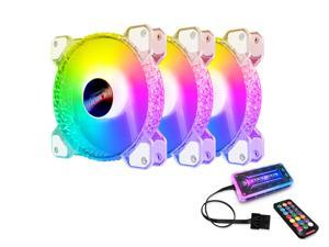 3 Pack RGB Case Fans,HSCCGI 120mm Silent Computer Cooling PC Case Fan RGB Color Changing LED Fan with Remote Controller Fan Hub and Extension