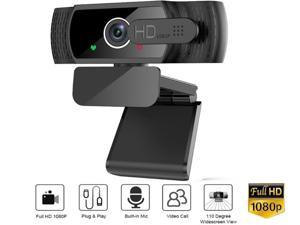 HSCCGI 1080P Full HD Webcam, PC Web Cam Laptop Plug and Play Computer Web Camera with Microphone Senso for Video Calling Recording Conferencing Live Class