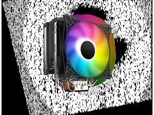 HSCCGI Black CPU Air Cooler w/ 4 Heat Pipes 120mm PWM Processor 125W TDP Fan Intel LGA 1200 115X / AMD AM3 AM4 RGB Sync
