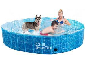 ALL FOR PAWS Outdoor Foldable Bathing Dog Pool Portable Pet Bath Tub Blue No Need Pump Up (M)