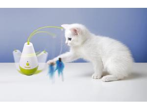 ALL FOR PAWS Interactive Tumbler Cat Toys with Rotating Feather Cat Feather Teaser Wand Toy for Kitten Cat Having Fun Exercise Playing