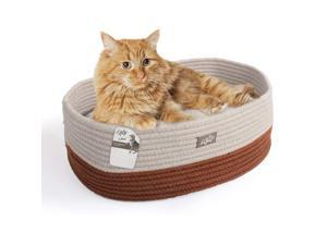 ALL FOR PAWS Oval Cat Bed with Special Weaving Design, Super Soft Durable Pet Bed with Firm Breathable Cotton for Cats and Small Dogs