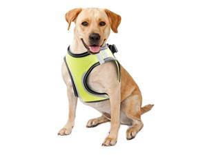 PAWISE Pet Reflective Mesh Dog Harness Soft Padded Mesh Walking Vest No-Pull Pet Harness with 2 Leash Clips