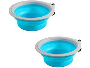 PAWISE Collapsible Dog Bowl Foldable Expandable Cup Dish for Cat Food Water Feeding Portable Travel Bowl with Carabiner for Dog 380ml (2 Pack)
