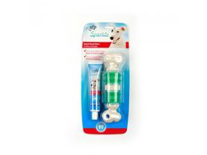 All For Paws Dog Toothpaste and Toothbrush Set 3 Sided Brush Double Sided with Long Curved Handle Dog Toothbrush with Toothpaste Set