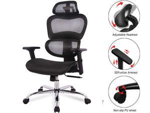 Office Chair, Ergonomics Mesh Chair Computer Chair Desk Chair High Back Chair w/Adjustable Headrest and Armrest,Adults and Teens Tall Home Chair,Black