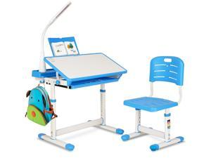 FUFU&GAGA Children Desk, Height Adjustable Kids Study Table and Chair Set, Childs Desk w/Lamp School Student Writing Desk w/Pull Out Drawer Storage,Pencil Case,Bookstand Blue