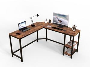 L-Shaped Computer Desk Corner Desk, Office Study Workstation with Shelves, Space-Saving, Easy to Assemble, Rustic Brown